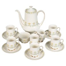 Paragon Fiona Green Designs Yellow Floral Coffee Set