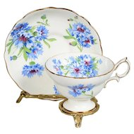 Hammersley White Decorated with Blue Cornflowers Teacup & Saucer