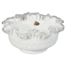 Fenton Spanish Lace Silver Crest White Ruffled Edge Bowl