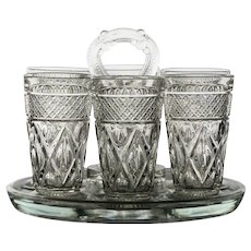 Vintage Pressed Glass 5 oz. Glass Set with Carrying Caddy