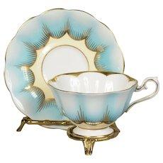 Royal Albert Blue Scalloped Design Teacup & Saucer CA. 1950's