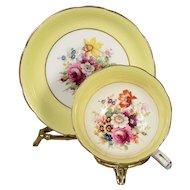 Signed Hammersley Yellow Mixed Floral Centers Teacup & Saucer