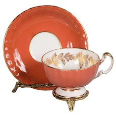 Aynsley Burnt Orange Mixed Floral Center Teacup & Saucer