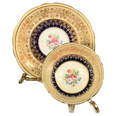 Aynsley Yellow & Cobalt Blue with Gold Designs Teacup & Saucer