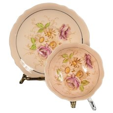 Paragon Double Warrant Beige Floral Design Teacup & Saucer