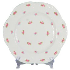 "Set of 6 Shelley Rosebud 10-3/4"" Dinner Plates"