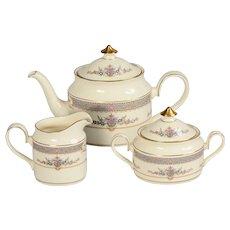 Minton Persian Rose Teapot, Creamer & Covered Sugar