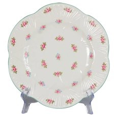 "Set of 6 Shelley Rosebud Luncheon Plates 9-1/8"" Diameter"