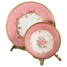 Aynsley Pink/White Gilded Designs Rose in Cup Teacup & Saucer