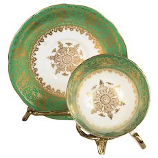 Aynsley White/Green Band Decorated with Gold Leaves Teacup & Saucer