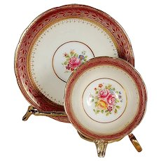 Aynsley Maroon & White with Floral Center Teacup & Saucer
