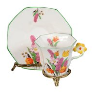 Melba Floral Handle Teacup & Saucer CA. 1933
