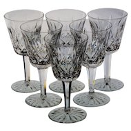 Set of Six Waterford Lismore Water/Wine Goblets