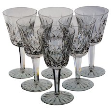 Set of 6 Waterford Lismore Claret Wine Glasses