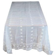 """Elegant White Sheer/Floral Tablecloth #18 Approx. 105 """" X 67"""""""