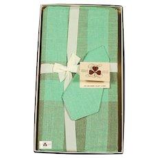 Irish Linen Green Plaid Tablecloth & 6 Napkins - Never Used
