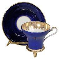 Aynsley Cobalt Blue Gold Gilded Design Corset Cup & Saucer