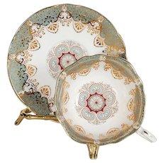 Paragon Grey Blue Gilded Designs Teacup & Saucer
