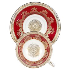 Paragon White/Red Gilded Designs Teacup & Saucer