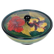 Moorcroft Signed Hibiscus Covered Dish - C.1936 - 1953 PAPER LABEL