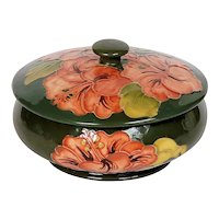 Moorcroft Signed Covered Olive Green Dish with Coral Peach Hibiscus