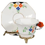 Melba Orange Floral Handle with Gold Trim Teacup & Saucer - CA.1933