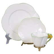 Shelley Yellow Floral Handle Teacup, Saucer & Plate - 1925 - 1945 Back Stamp