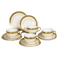 Set of 4 Minton Buckingham Cup, Saucer & Plate Trios Pattern # K 159