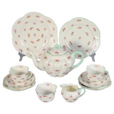 Shelley Rosebud Tea Set with Teapot Cream & Sugar Cups Saucers & Plates