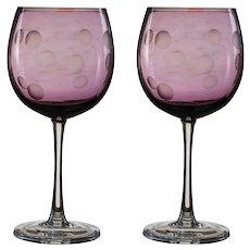 Set of 2 Waterford Crystal Marquis Polka Dot Wine Glasses