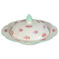 Shelley Rosebud Round Butter Dish with Lid # 13426