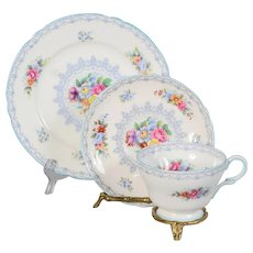 Shelley Crochet Trio - Teacup Saucer & Plate Blue Trim