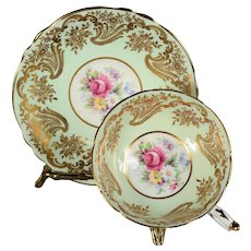 Stunning Paragon Teacup & Saucer - White/Light Green Border with Floral Center