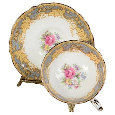 Paragon Teacup & Saucer - White/Grey Band with Floral Center