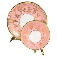 Aynsley Pink Teacup & Saucer - Gilded Grapes & Vines