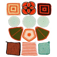 12 Hand Crochet Pot Holders/Hot Pads - Various Colors, Shapes & Sizes