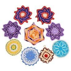 9 Hand Crochet Pot Holders/Hot Pads - Various Colors, Shapes & Sizes