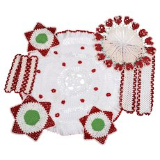 Lot of 7 Crocheted Doilies - Variety of Colors, Patterns & Sizes