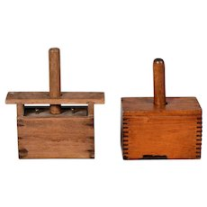 2  Vintage Wooden Butter Presses