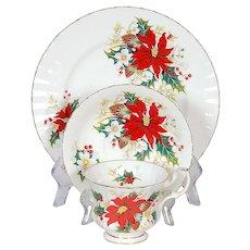 "Royal Albert Poinsettia Trio - Teacup, Saucer & 8-1/4"" Plate"