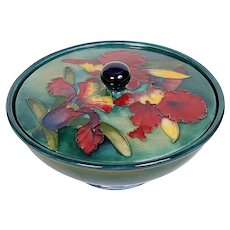 Moorcroft Signed Covered Orchid Dish 1936-1953