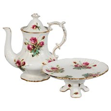 Hammersley Grandmothers Rose Coffee Pot & Footed Cake Plate