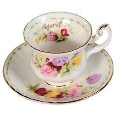 Royal Albert Flower of the Month Miniature April Teacup & Saucer