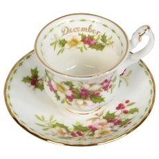 Royal Albert Flower of the Month Miniature December Teacup & Saucer