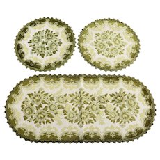 Belgium Brocade/Velvet Table Runner & 2 Doilies