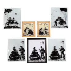 7 Convex Reverse Painting Silhouettes 4 Frame-less 3 In Frames