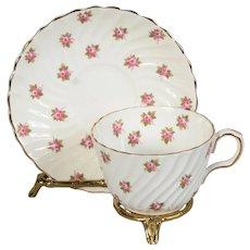 Aynsley Swirl Design Pink Roses Teacup & Saucer