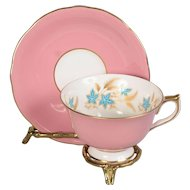 Aynsley Pink Gold Wheat & Flowers Teacup & Saucer