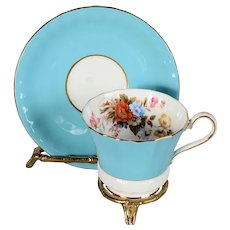 Aynsley Blue Floral Cup & Saucer - Pattern # 2956