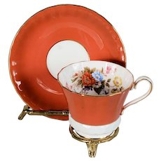 Aynsley Orange Floral Cup & Saucer